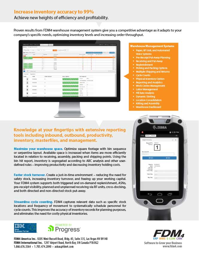 Page two of FDM4's WMS Solution Brochure