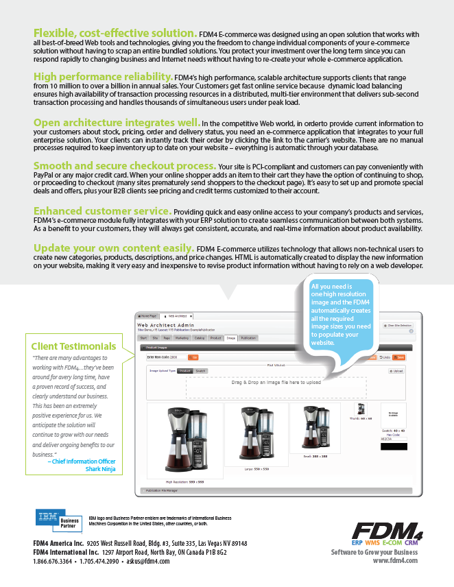 Page 2 of the FDM4 E-Commerce Product Brochure