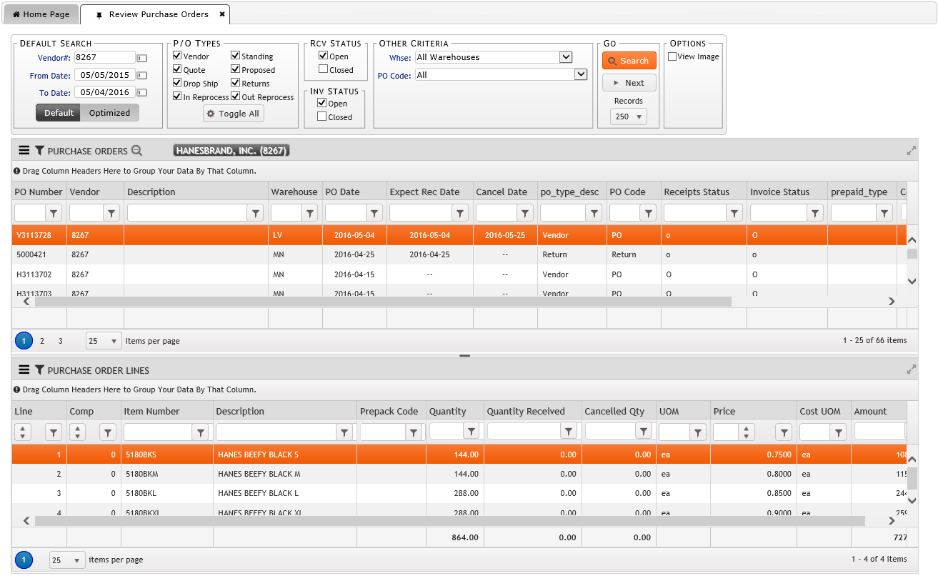 Review Purchase Orders On FDM4 V15 Web-based ERP
