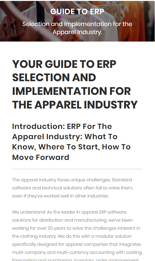 ERP For Apparel click and Drag ERP Guide