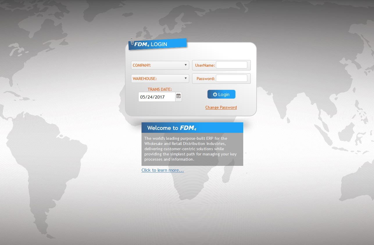 FDM4 Browser Based ERP Login Screen