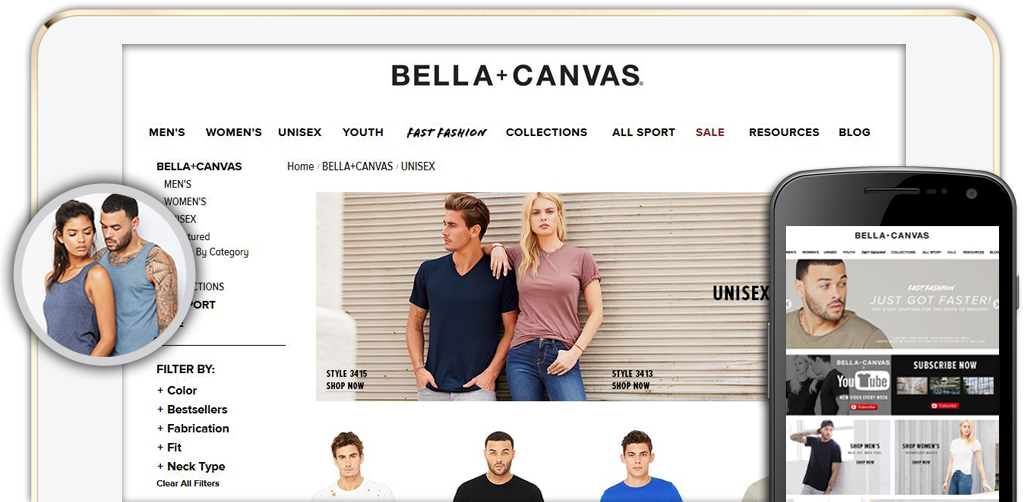 Click here to visit the Bella + Canvas Website