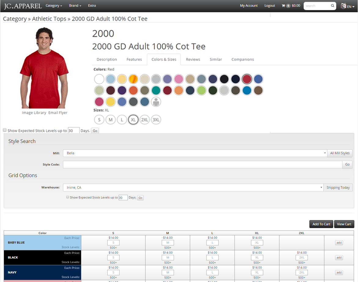 ECOM for Apparel Order Grid