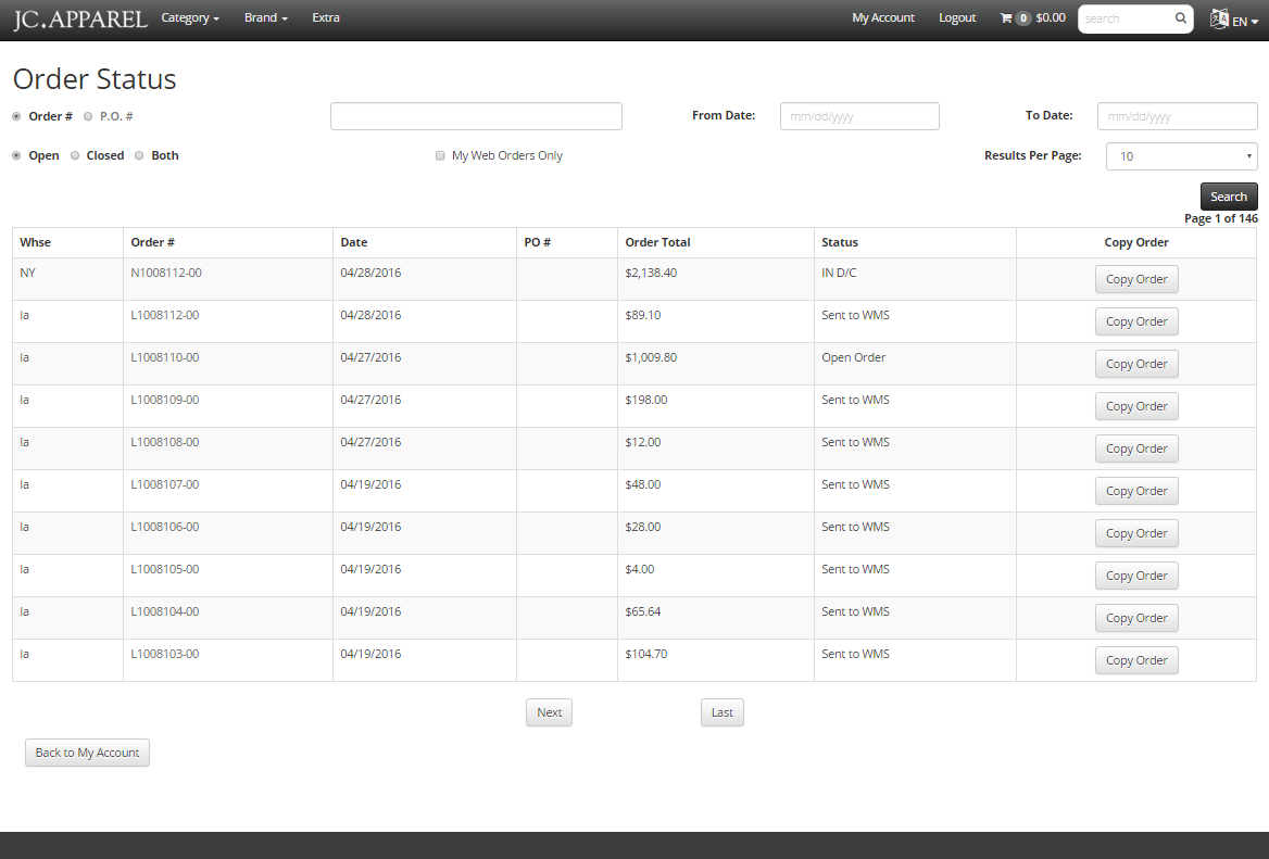 Picture of Order Status Interface From FDM4