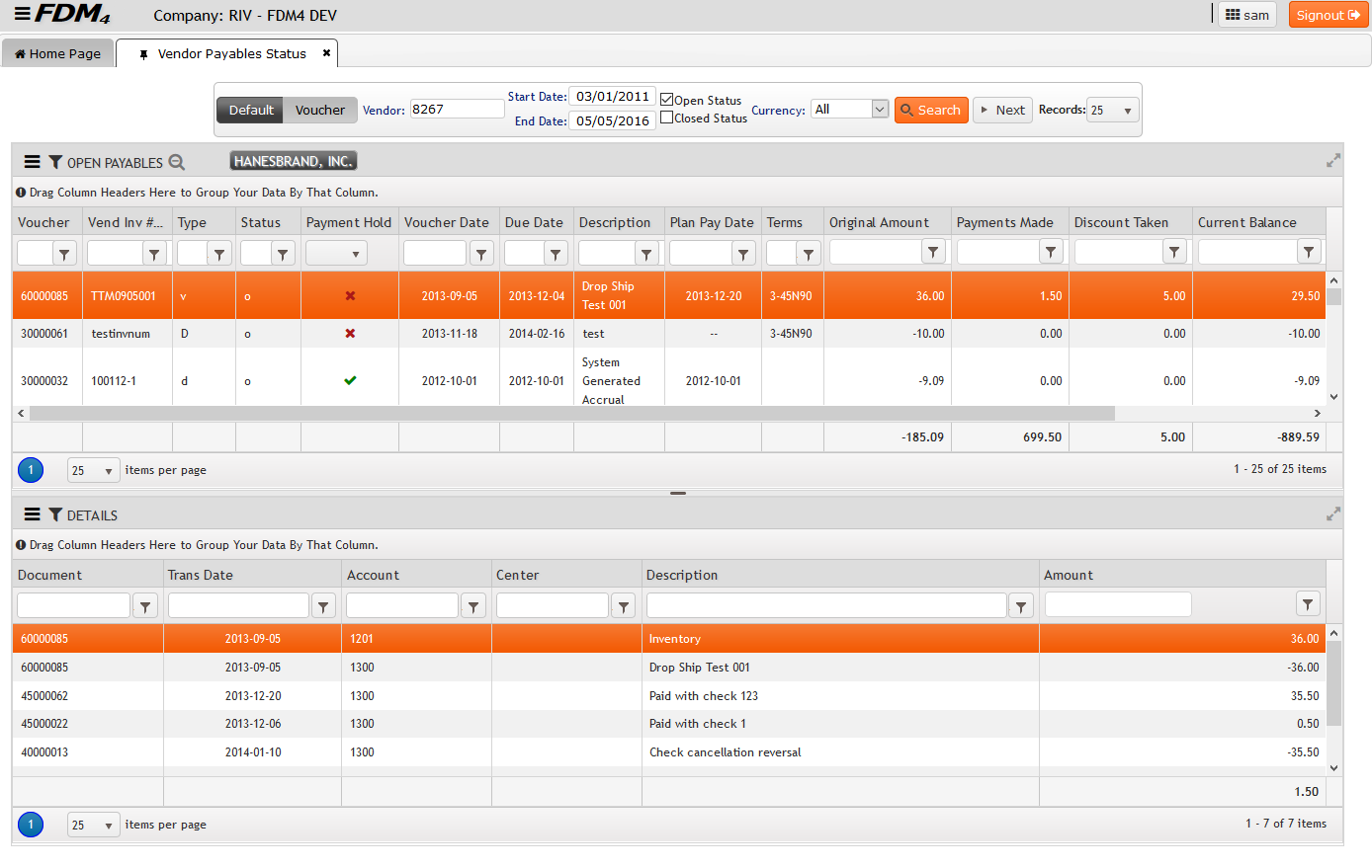 Vendor Payable Status on FDM4 V15 Web-based ERP