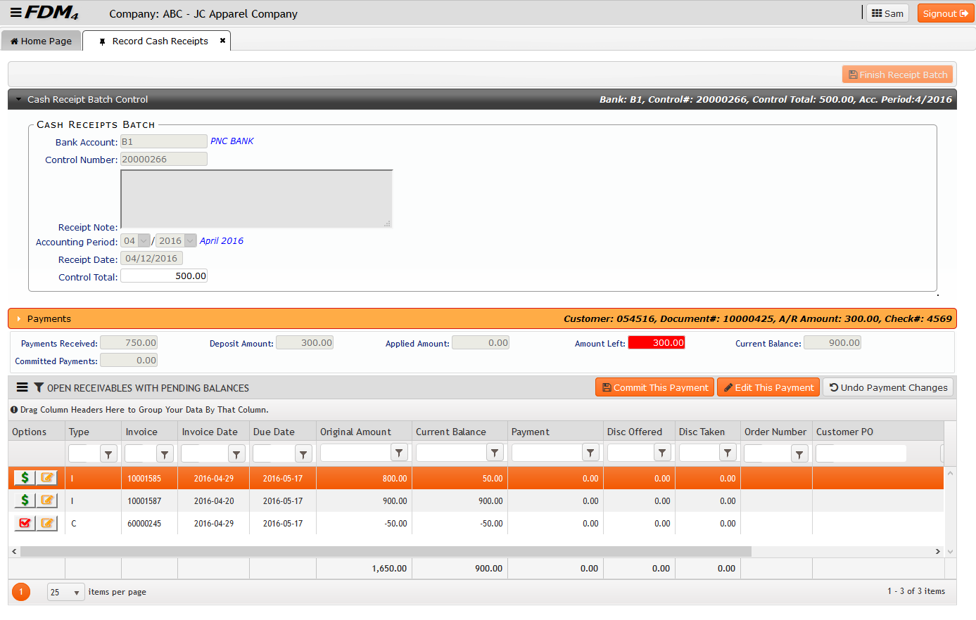 Record Cash Receipts Screenshot on FDM4 V15 Web-based ERP