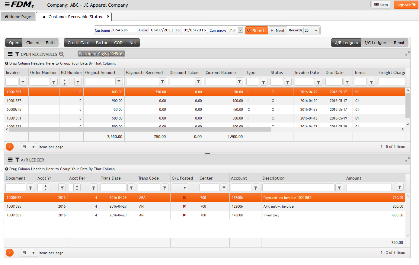 Customer Receivable Status on FDM4 V15 Web-based ERP