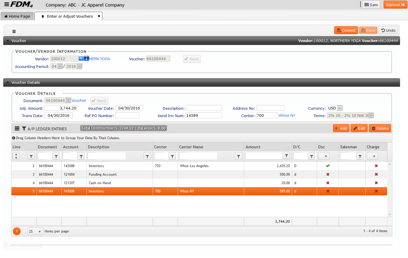 Enter Adjust Voucher Screenshot on FDM4 V15 Web-based ERP