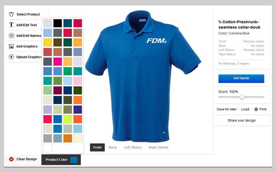 Shirt color selection and customization order example