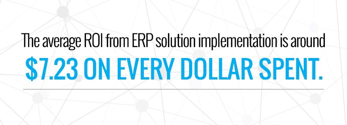 Average ROI from ERP implementation is $7.23 per dollar