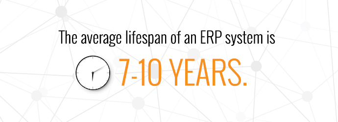 The average lifespan of an ERP system is seven to ten years