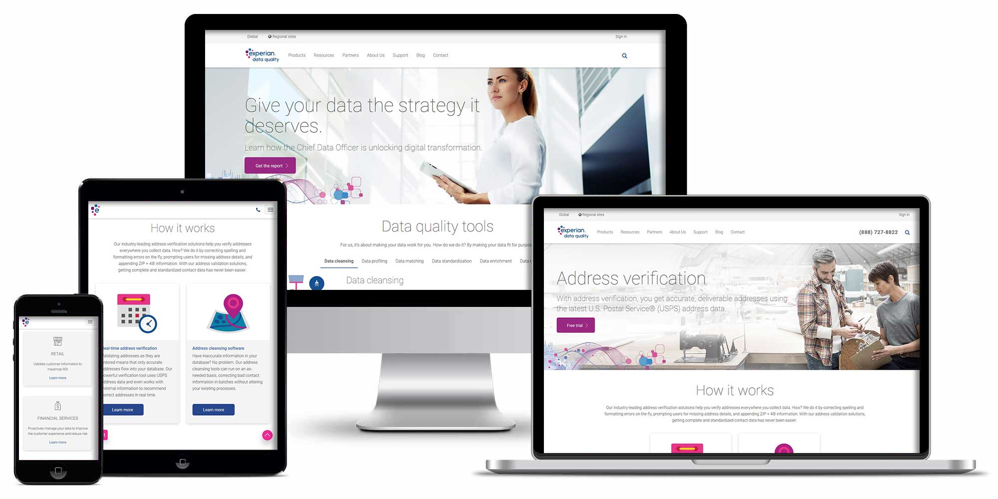 Experian Data Quality website screenshots on desktop, laptop, tablet, and cellphone