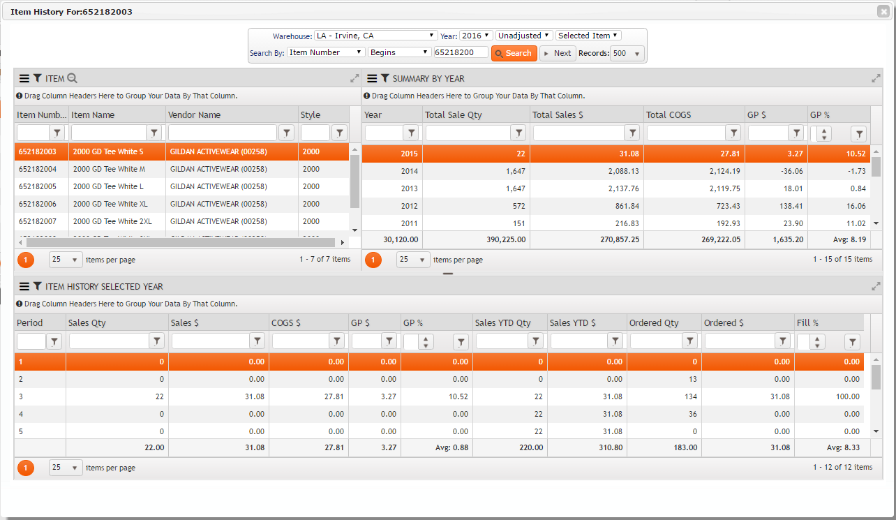 Item History On FDM4 V15 Web-based ERP