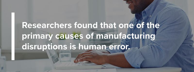 Human error is a primary cause of manufacturing disruptions