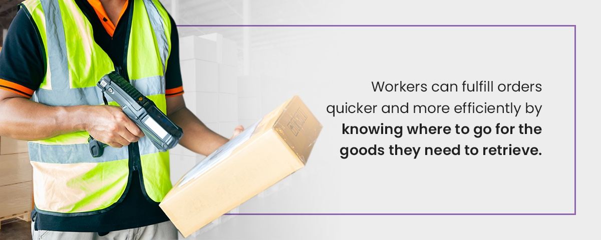 Knowing where to go to retrieve goods in a warehouse improves efficiency