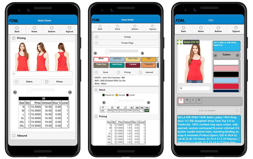 Three cell phone screens with examples of apparel ordering