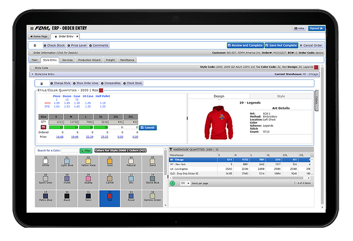 Screenshot example of sweatshirt order entry in ERP system