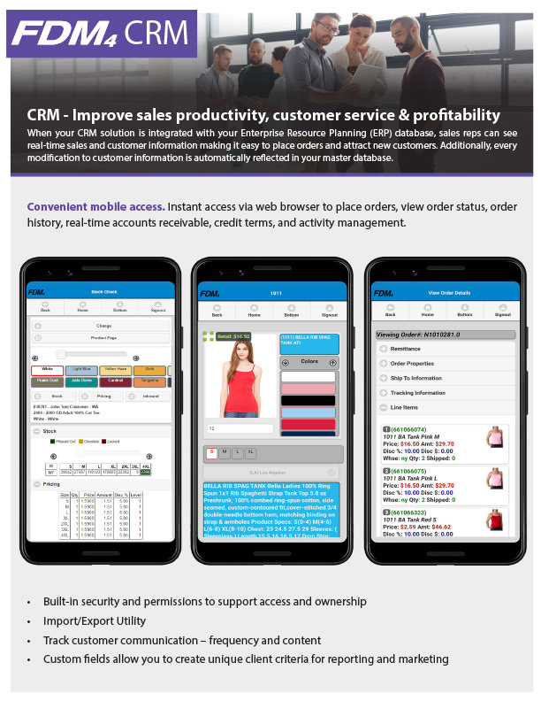 CRM software solution phone screenshot examples and description