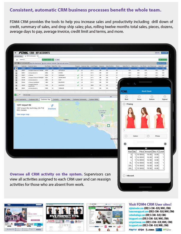 CRM software solution tablet and phone screenshots and benefits description